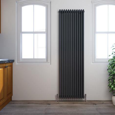 ELEGANT Traditional Radiator Anthracite Triple Vertical Cast Iron Grey Tall Radiator - Perfect for Kithcen, Living Room, Bathroom Radiators 3 Column 1800 x 560 mm