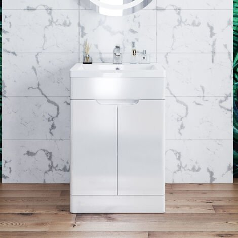 ELEGANT Vanity Sink Unit with Vitreous Resin Basin, High Gloss White Vanity unit supplied, Bathroom Storage Furniture 490mm