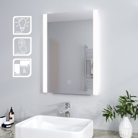 ELEGANT Vertical 500 x 700mm Illuminated LED Bathroom Mirror Light Touch Sensor
