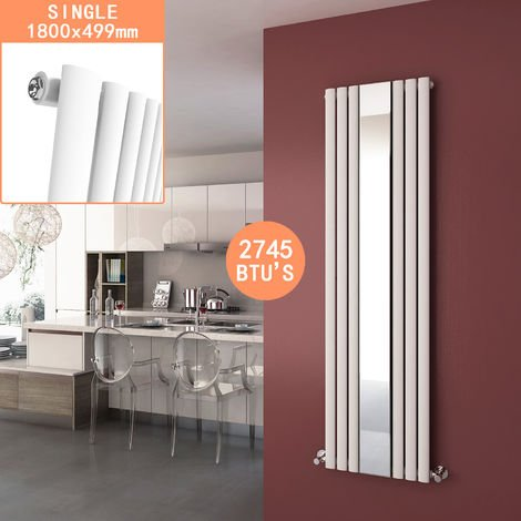 ELEGANT Vertical Column Bathroom Radiator 1800 x 499 mm Oval Single Panel Designer Heater White Mirror Radiator