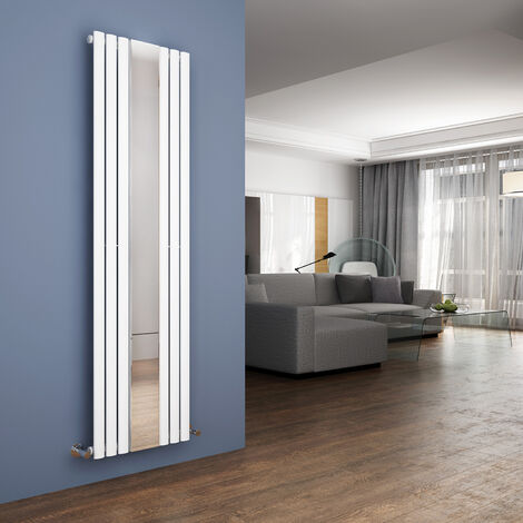 ELEGANT Vertical Column Bathroom Radiator 1800 x 499 mm Oval Single Panel Designer Heater White Mirror Radiator