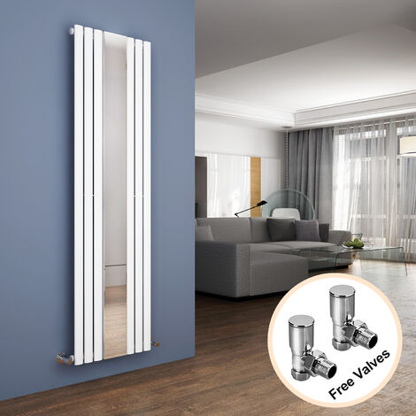 ELEGANT Vertical Column Bathroom Radiator 1800 x 499 mm Oval Single Panel Designer Heater White Mirror Radiator + Angled Radiator Valves