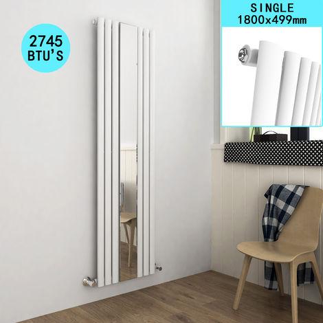ELEGANT Vertical Column Bathroom Radiator Oval Single Panel Designer Heater White Mirror Radiator 1800 x 499 mm