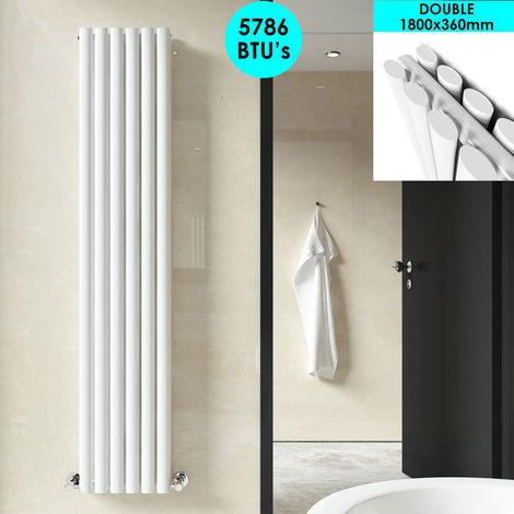 ELEGANT Vertical Column Radiator 1800 x 360mm White Oval Double Panel Designer Heater