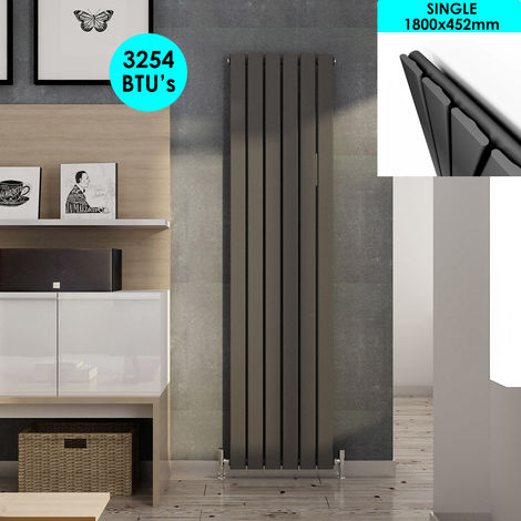 ELEGANT Vertical Column Radiator 1800 x 452 mm Anthracite Single Flat Panel Designer Bathroom Radiator
