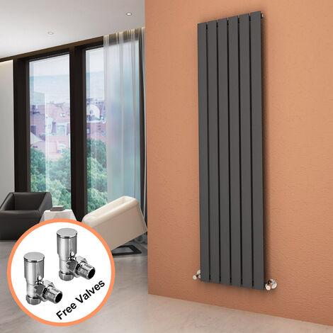 ELEGANT Vertical Column Radiator 1800 x 452 mm Anthracite Single Flat Panel Designer Bathroom Radiator + Angled Radiator Valves