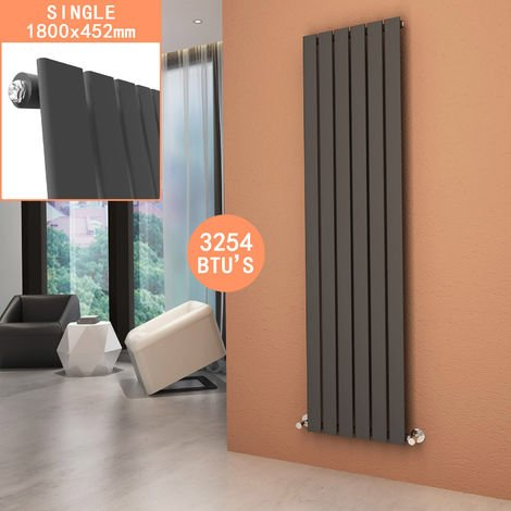 ELEGANT Vertical Column Radiator 1800 x 452 mm Anthracite Single Flat Panel Designer Bathroom Radiator Rads