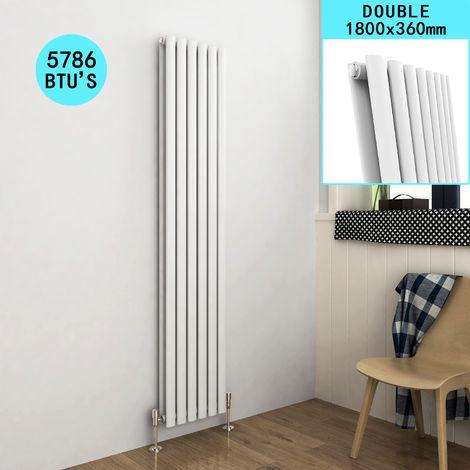 ELEGANT Vertical Column Radiator White Oval Double Panel Designer Heater 1800 x 360mm