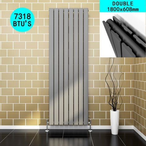 ELEGANT Vertical Designer Radiator 1800 x 608 mm Anthracite Double Flat Panel Column Tall Upright Central Heating Radiators