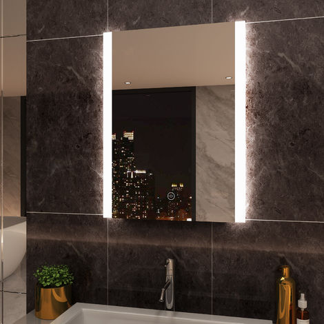 ELEGANT Vertical Illuminated LED Bathroom Mirror 600 x 800 mm Mirror Light Touch Sensor with Demister