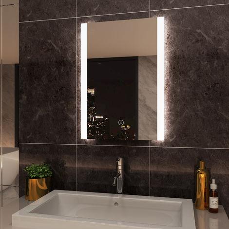 ELEGANT Vertical Illuminated LED Bathroom Mirror Light Touch Sensor 500 x 700mm