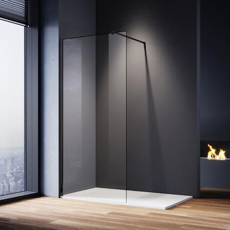 ELEGANT Walk In Shower Screen 8mm Nano Glass Black Wet Room Frameless Shower Enclosure