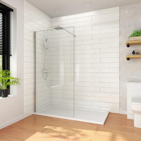ELEGANT Walk in Wetroom Shower Enclosure 900mm Shower Screen Panel 8mm Easy Clean Glass Frameless