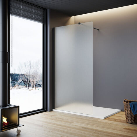"""main image of """"ELEGANT Walkin Shower Screen Wet Room 8mm Easy Clean Safety Glass Bath Panel Full Frosted,"""""""