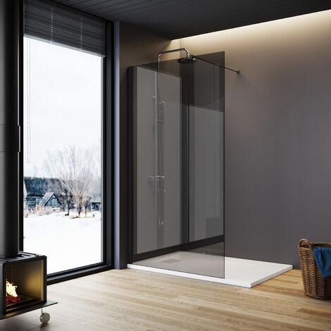 ELEGANT Walkin Shower Screen Wet Room 8mm Easy Clean Safety Glass Bath Panel Grey,