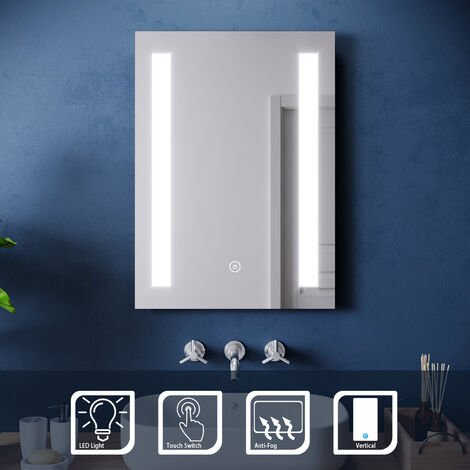 ELEGANT Wall Mounted Illuminated LED Backlit Bathroom Mirror Sensor Touch control with Demister Pad 500 x 700 mm