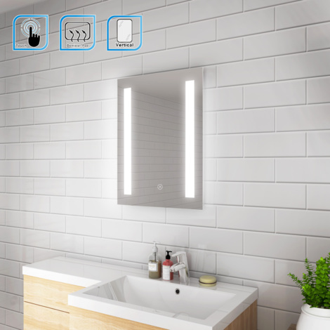 Elegant Wall Mounted Illuminated Led Backlit Bathroom Mirror With Lights Sensor Touch Control With Demister Pad