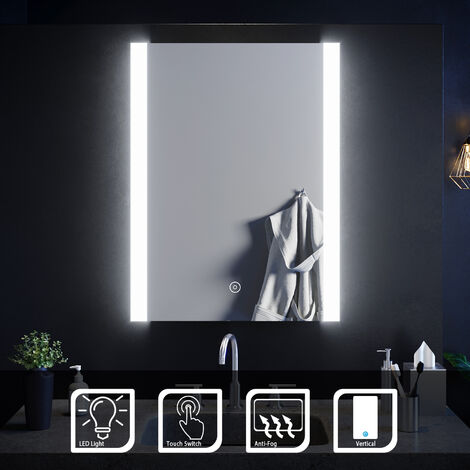 ELEGANT Wall Mounted Illuminated LED Bathroom Mirror with Lights 600 x 800 mm Vertical Touch Sensor with Demister