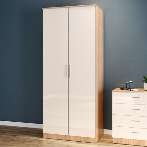 ELEGANT Wardrobe 2 Doors with Soft Close Hinge, High Gloss Bedroom Furniture Sets with Hanging Rod Cream/oak