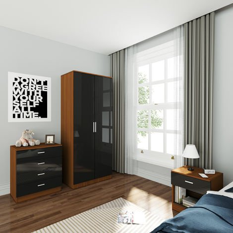 ELEGANT Wardrobe and Cabinet Furniture Set Bedroom 2 Doors Wardrobe and 4 Drawer Chest and Bedside Cabinet High Gloss , Black/Walnut