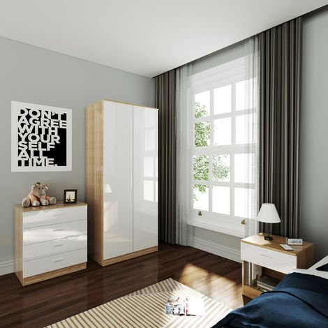 ELEGANT Wardrobe and Cabinet Furniture Set Bedroom 2 Doors Wardrobe and 4 Drawer Chest and Bedside Cabinet, High Gloss White/Oak
