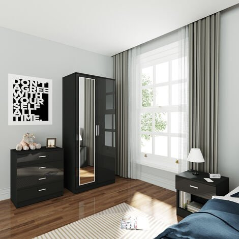 ELEGANT Wardrobe and Cabinet Furniture Set Bedroom 2 Doors Wardrobe with Mirror and 4 Drawer Chest and Bedside Cabinet High Gloss, Black