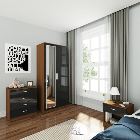 ELEGANT Wardrobe and Cabinet Furniture Set Bedroom 2 Doors Wardrobe with Mirror and 4 Drawer Chest and Bedside Cabinet High Gloss, Black/Walnut