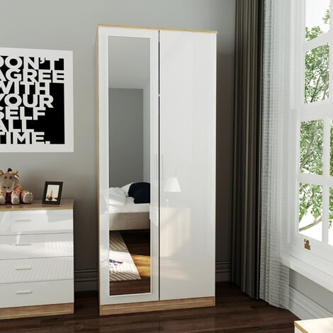 ELEGANT Wardrobe and Cabinet Furniture Set Bedroom 2 Doors Wardrobe with Mirror and 4 Drawer Chest and Bedside Cabinet High Gloss, White/Oak