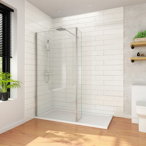 ELEGANT Wet Room 900mm Shower Screen Panel 8mm Easy Clean Glass Walk in Shower Enclosure with 300mm Return Panel and Support Bar