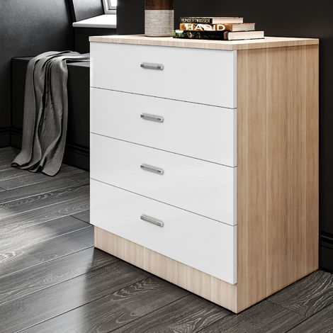 Elegant White/Oak High Gloss Bedroom Nightstand with Drawer Bedside Table Cabinet for Storage- 465x450x330mm