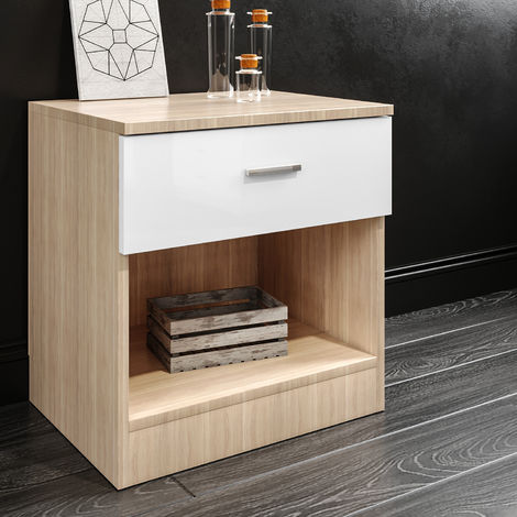 ELEGANT White/Oak Modern High Gloss Bedside Cabinet Night Stand Storage Shelf with Bin Drawer, for Bedroom or Home Storage Organizer