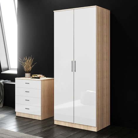 ELEGANT White/Oak Modern High Gloss Soft Close 2 Doors Wardrobe with Metal Handles Includes a removable hanging rod and storage shelves