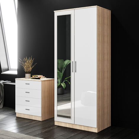 ELEGANT White/Oak Modern High Gloss Soft Close 2 Doors Wardrobe with Mirror and Metal Handles Includes a removable hanging rod and storage shelves