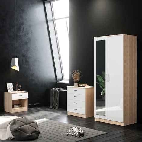ELEGANT White/Oak Modern High Gloss Wardrobe and Cabinet Furniture Set Bedroom 2 Doors Wardrobe with Mirror and 4 Drawer Chest and Bedside Cabinet