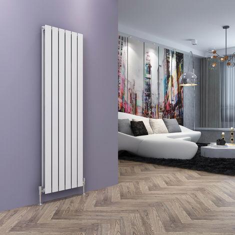 ELEGANT White Vertical Radiator Double Flat Panel 1600 x 452 mm Designer Vertical Radiators with Angled Radiator Valves