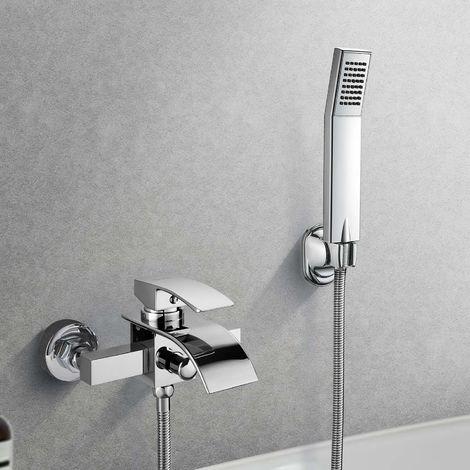 Wannen Armatur Thermostat Dusche Mischbatterie Wannenfüll-Armatur Chrom