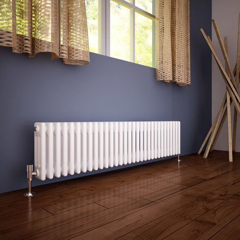 ELEGANT?300?x?1400?mm?Traditional?Radiator?Cast?Iron?Style?Horizontal?Radiator?White?Triple?Horizontal?Column?Radiators