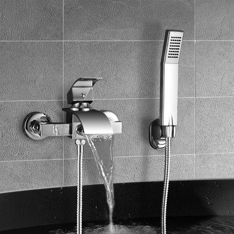 Elegante grifo de bañera cascada con ducha, grifo mezclador WOOHSE grifo de bañera con soporte de pared con ducha de mano para ducha de baño, cuerpo de latón de alta calidad