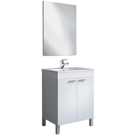 Elegante Pack Mueble Baño de 60cm ancho con 2 Puertas, Espejo + Lavabo PMMA (NO clásica cerámica) con Grifería Incluida