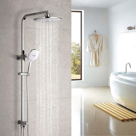 Elegante sistema de ducha tipo lluvia, sistema de ducha WOOHSE sin grifo Juego de ducha grifo de ducha con cabezal de ducha y ducha de mano con 3 funciones, barra de ducha de altura regulable 68-120 cm, garantía de por vida