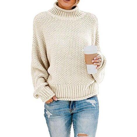 Elegante suéter de mujer Cuello alto de invierno Suéter de punto Suéter grueso Tejido Suéter informal suelto Suéter de manga larga-M Blanco