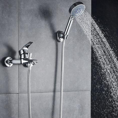 Elegante y contemporánea grifo de baño con grifo cromado, incluye soporte de pared con ducha de mano para baño baño