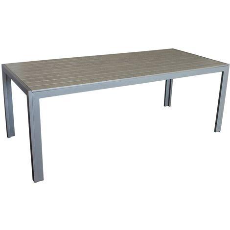 Eleganter Gartentisch Für Bis Zu 8 Personen Aluminium Polywood Non Wood Tischplatte 205x90cm Graugrau Esszimmertisch Küchentisch Esstisch