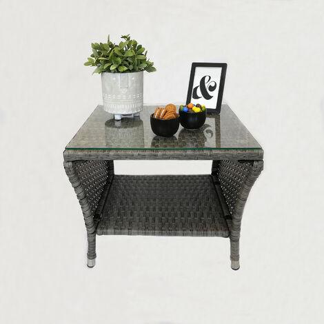 """main image of """"Eleganter Polyrattan Beistelltisch mit Tischglasplatte und Ablagefläche, 50x50cm - Grau - Gartentisch Teetisch Gartenmöbel Rattanmöbel"""""""