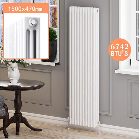 ELEGANT?Traditional?Radiator?Cast?Iron?Style?White?Triple?Column?Radiator