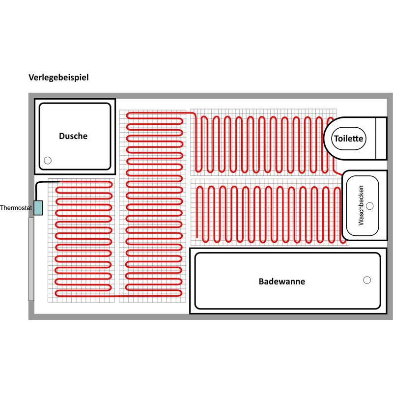 HoWaTech Elektrische Fußbodenheizung Heizmatte 100 W//m² keramische Oberbeläge