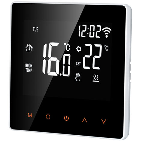 Elektrische Heizung Thermostat WiFi APP Touchscreen-Steuerung 16A, wei? beleuchtete Tasten Orange - boutons orange r¨¦tro¨¦clair¨¦s blancs