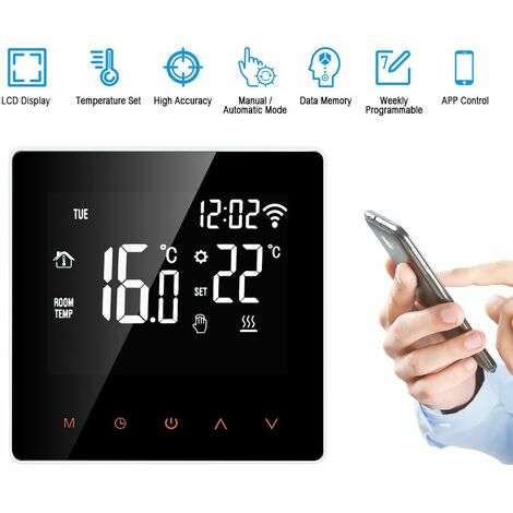 elektrische Heizung Thermostat Wifi Touchscreen-Steuerung APP Weekly Schedule 16A Orange beleuchtete Tasten wei?