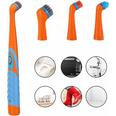 Elektrische Sonic Scrubber Reinigungsbürste Haushaltsbürste mit 4 Köpfen für die Badezimmerküche