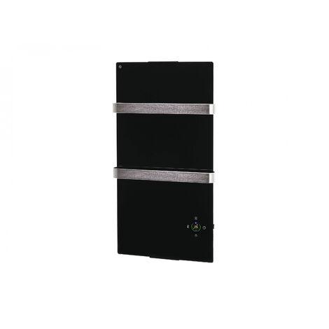 Elektrischer Handtuchheizkörper aus schwarzem Hartglas mit wifi